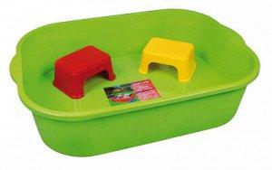 Бак 250,0л Бак 250,0л б/к [ПЕСОЧНИЦА] (емкость 250л (зеленый)+2 табурета) 128*90*31см Набор для песка станет прекрасным местом для детских игр. Набор состоит из емкости и двух табуретов. Благодаря выс