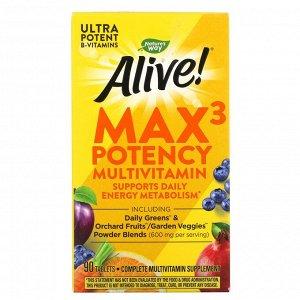Nature's Way, Alive! Max3 Potency, мультивитамины, 90 таблеток