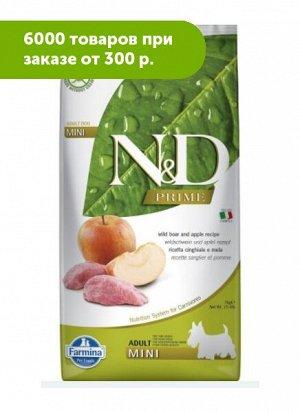 Farmina N&D Dog Prime сухой беззерновой корм для собак мелких пород Кабан/Яблоко 2,5кг