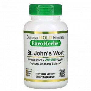 Зверобой California Gold Nutrition, Экстракт зверобоя, EuroHerbs, европейское качество, 300 мг, 180 растительных капсул  Зверобой 300 мг экстракта, стандартизированного до 0,3% гиперицинов и 2% гиперф