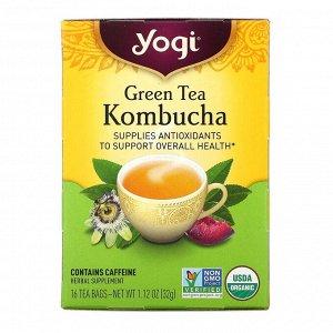 Yogi Tea, Зеленый чай комбуча, 16 чайных пакетиков, 32 г
