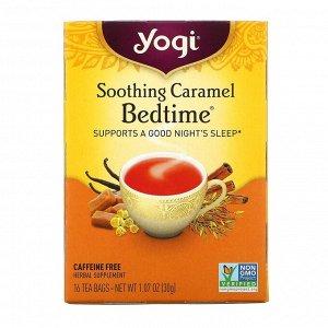 Yogi Tea, Чай Soothing Caramel Bedtime, без кофеина, 16 пакетиков, 1,07 унции (30 г)