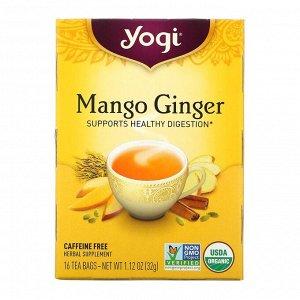 Yogi Tea, Органический манговый имбирь, без кофеина, 16 чайных пакетиков, 1,12 унции (32 г)