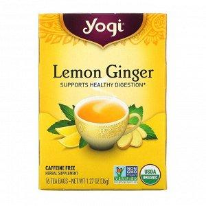 Yogi Tea, Лимон и имбирь, без кофеина, 16 чайных пакетиков, 36 г