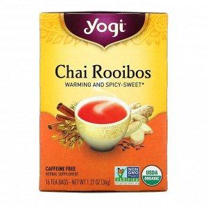 Yogi Tea, Органическая серия, чай ройбуш, без кофеина, 16 чайных пакетиков, 36 г