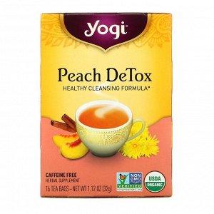 Yogi Tea, Peach DeTox, без кофеина, 16 чайных пакетиков, 1,12 унции (32 г)