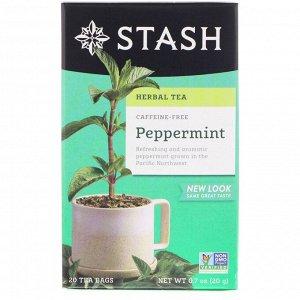 Stash Tea, Травяной чай, мята перечная, без кофеина, 20 чайных пакетиков, 0,7 унции (20 г)