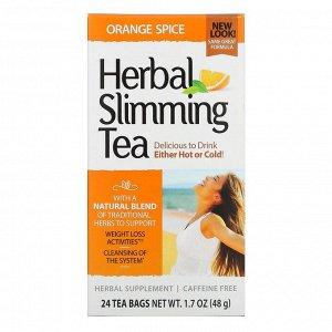 21st Century, Травяной чай для похудения, апельсиновые специи, без кофеина, 24 чайных пакетика, 1,7 унции (48 г)