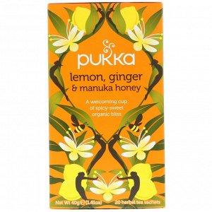 Pukka Herbs, Lemon Ginger & Munka Honey Tea, 20 Herbal Tea Sachets, 0.07 oz (2 g) Each