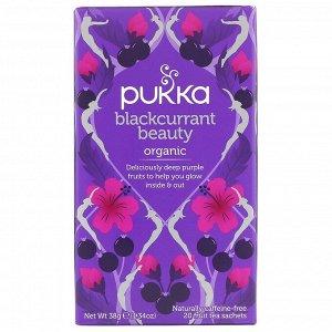 Pukka Herbs, Blackcurrant Beauty, органический чай с черной смородиной, без кофеина, 20 пакетиков с фруктовым чаем, 38 г (1,34 унции)