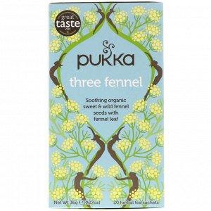 Pukka Herbs, Три фенхеля, 20 пакетиков травяного чая, 1,27 унции (36 г)