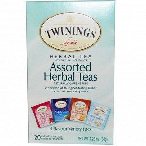 Twinings, Травяной чай разных сортов, разнообразие видов, без кофеина, 20 пакетиков, 1.23 унций (34 г)
