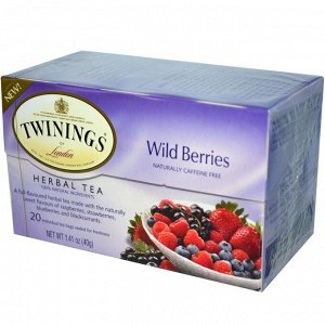 Twinings, Травяной чай, дикие ягоды, без кофеина, 20 пакетиков, 1,41 унции (40 г)