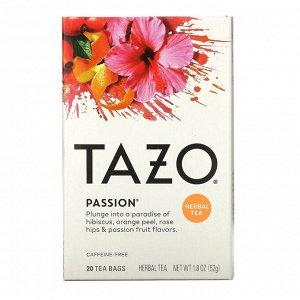 Tazo Teas, Травяной чай без кофеина «Взрыв чувств», 20 фильтр-пакетиков, 1,8 унции (52 г)