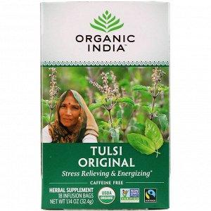 Organic India, Чай с туласи, оригинальный, без кофеина, 18 пакетиков, 32,4 г (1,14 унции)