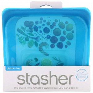 Stasher, Многоразовый силиконовый пищевой пакет, размер сэндвича / средний, черника, 15 жидких унций (450 мл)