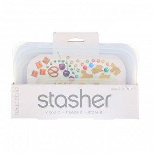 Stasher, Многоразовая силиконовая сумка для еды, для маленьких закусок, прозрачная, 9,9 ж. унц. (293,5 мл)
