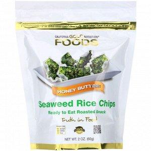 California Gold Nutrition, Seaweed Rice Chips, чипсы со вкусом медового масла, 60 г (2 унции)