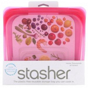 Stasher, Многоразовый силиконовый контейнер для еды, удобный размер для бутербродов, средний, малиновый, 450 мл (15 жидк. унций)