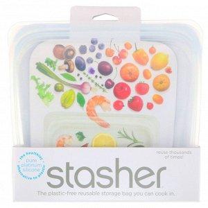 Stasher, Многоразовый силиконовый контейнер для еды, удобный размер для бутербродов, средний, прозрачный, 450 мл (15 жидк. унций)
