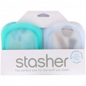 Stasher, Силиконовый карман многоразового использования, прозрачный и голубой, 2 штуки, по 42 г (4 унции)