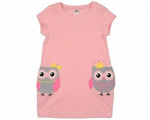 """Платье """"Сова"""" (98-122см) UD 4496(1)розовый"""