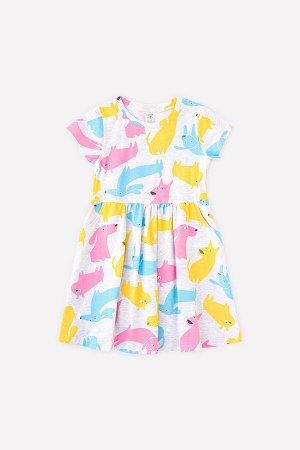 Платье(Весна-Лето)+girls (св.серый меланж, разноцветные собаки к1264)
