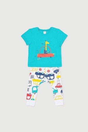 Комплект(Весна-Лето)+baby (темный минт, цветные машинки)