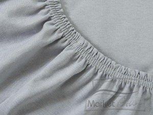 Простыня трикотажная на резинке 180х200х20 см серый