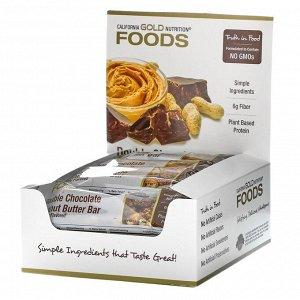 California Gold Nutrition, Foods, батончики со вкусом двойного шоколада и арахисовой пасты, 12 батончиков, по 40 г (1,4 унции)