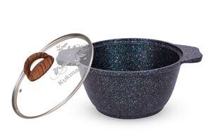Кастрюля, 1 л, стекл. крышка, АП, литой алюм., GRANIT ULTRA blue, 1/3
