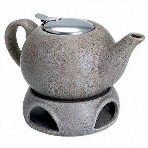 Чайник заварочный 750 мл с фильтром и подставкой Ф19-056R серый
