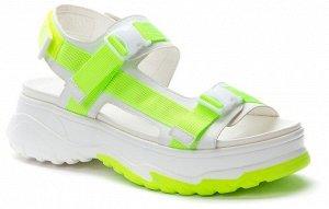 817655/01-05 белый/салатовый иск.кожа/текстиль женские туфли открытые (В-Л 2021)