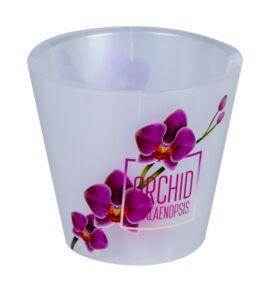 Горшок для орхидей, 1,6 л, d 160 мм, пластик, с прик. поливом, розовая орхидея, Фиджи, ORCHID, 1/16