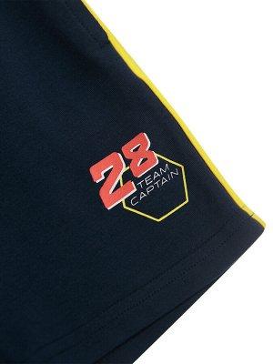 Комплект Состав: 95% хлопок, 5% эластан  Цвет: жёлтый, тёмно-синий  Год: 2021 *Комплект: футболка, шорты *из качественного эластичного и приятного на ощупь трикотажа джерси *высокое содержание хлоп