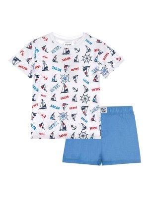 Комплект Состав: Футболка- 95% хлопок, 5% эластан, Шорты- 100% хлопок  Цвет: белый, синий  Год: 2021 *Комплект: футболка, шорты *из качественного эластичного и приятного на ощупь трикотажа *высокое