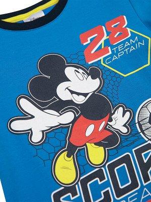 Комплект Состав: 95% хлопок, 5% эластан  Цвет: тёмно-синий, синий  Год: 2021 *Комплект: футболка с принтом Disney, брюки *из качественного эластичного и приятного на ощупь трикотажа джерси *высокое