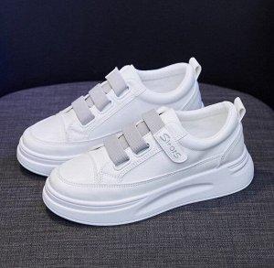 Женские кроссовки, цвет белый/серый, на липучке