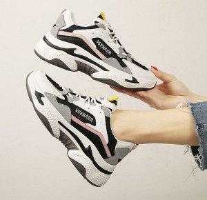 Женские кроссовки, цвет белый/розовый