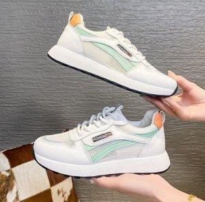 Женские кроссовки, цвет белый/бирюзовый/оранжевый