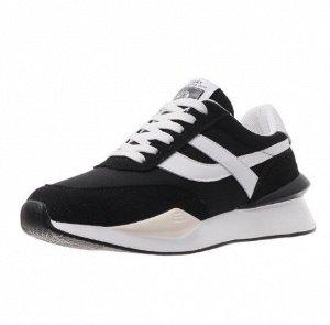 Женские кроссовки, цвет черный, белые полосы