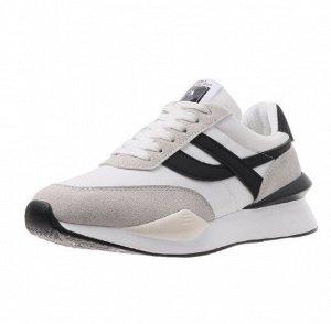 Женские кроссовки, цвет белый, серые/черные полосы