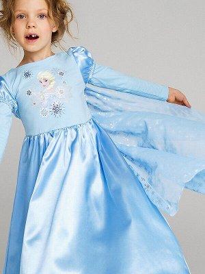 Платье Состав: 95% хлопок, 5% эластан  Цвет: голубой  Год: 2021 Самый любимый персонаж всех девочек – Эльза из мультфильма «Холодное сердце». Трудно представить более подходящий новогодний наряд, чем