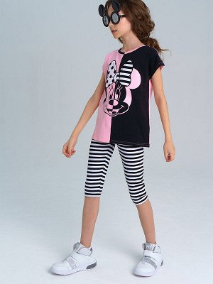Комплект Состав: 95% хлопок, 5% эластан Цвет: светло-розовый, белый, черный Год: 2021 *Комплект: футболка с принтом Disney, леггинсы *из качественного эластичного и приятного на ощупь трикотажа джер