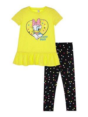 Комплект Состав: 95% хлопок, 5% эластан Цвет: жёлтый, черный Год: 2021 *Комплект: футболка с принтом Disney, леггинсы *из качественного эластичного и приятного на ощупь трикотажа джерси *высокое со