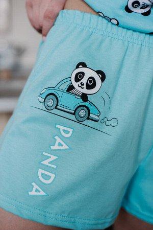 Пижама Ткань: Интерлок (100% х/б), Кулирка (100% х/б) Цвет: Мятный Страна: Россия  Женская пижама: шорты с принтом, пояс на резинке, и футболка в коротким рукавом.   42 размер: длина по спинке – 61 см