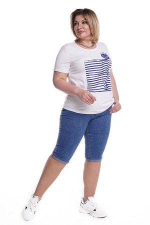 Капри-5098 Материал: Джинсовая ткань;   Фасон: Капри; Параметры модели: Рост 173 см, Размер 54 Капри джинсовые с отворотом синие Длина изделия 50 размера по спинке - 70 см. В каждом следующем размере