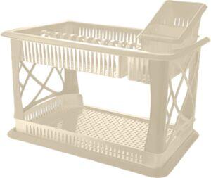Сушилка д/посуды с поддоном 2-х ярусная с  сушилкой д/столовых приборов сл.крем BONO  1/1