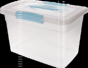 """Ящик для хранения """"Laconic"""" с защелками и ручкой, 14 л небесный прозрачный 210 х 370 х 270 мм 1/6"""