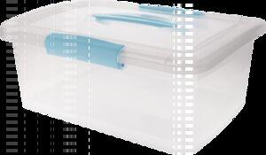 """Ящик для хранения """"Laconic"""" с защелками и ручкой, 7 л небесный прозрачный, 147 х 350 х 235 мм, 1/6"""